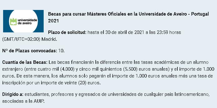 Becas_Masters_Uni_Aveiro2021